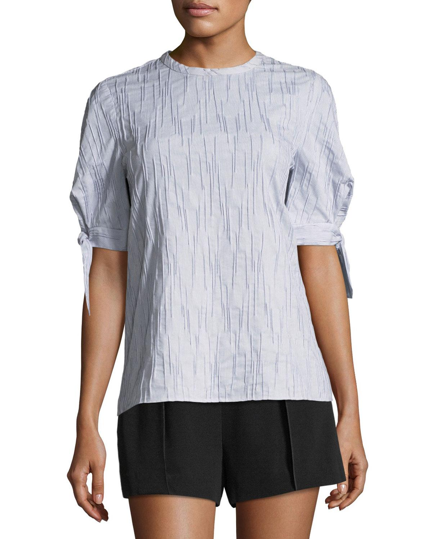 Short Sleeve Crewneck Top With Tie Detail - White Derek Lam Explore Cheap Online Buy Cheap Amazing Price eJxfIk