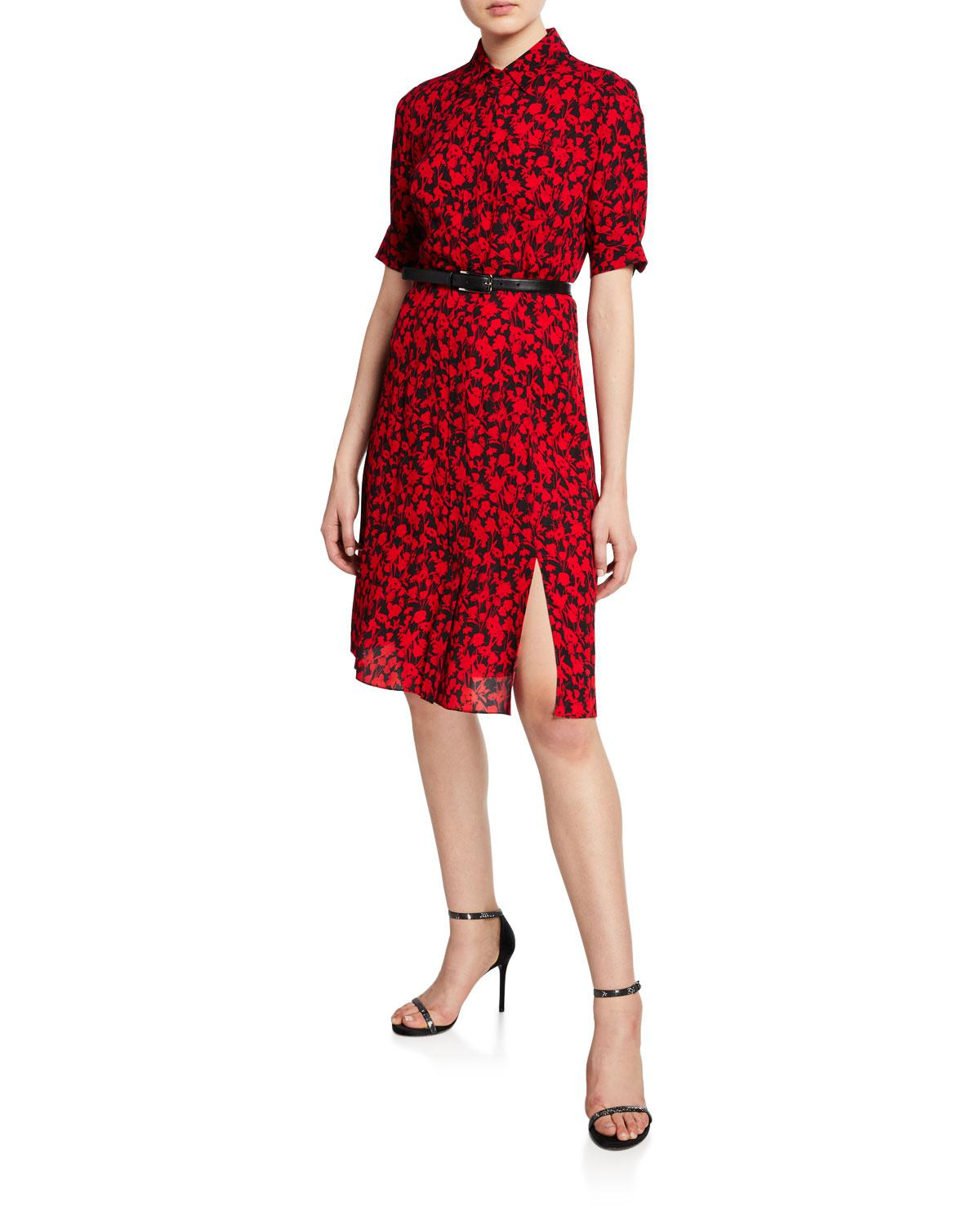6cd029143b Lyst - Elie Tahari Aisha Floral-print Short-sleeve Belted Dress in Red