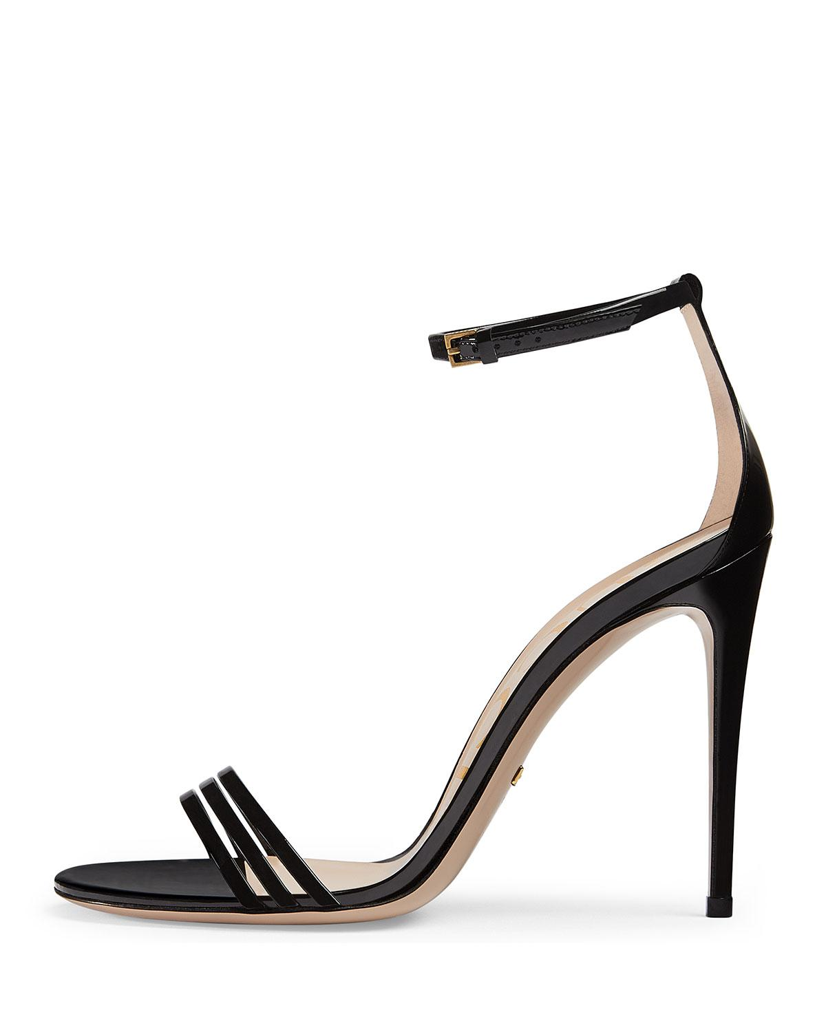 0fe8a4c89eb4 Lyst - Gucci Ilse Bow-embellished Leather Sandals in Black