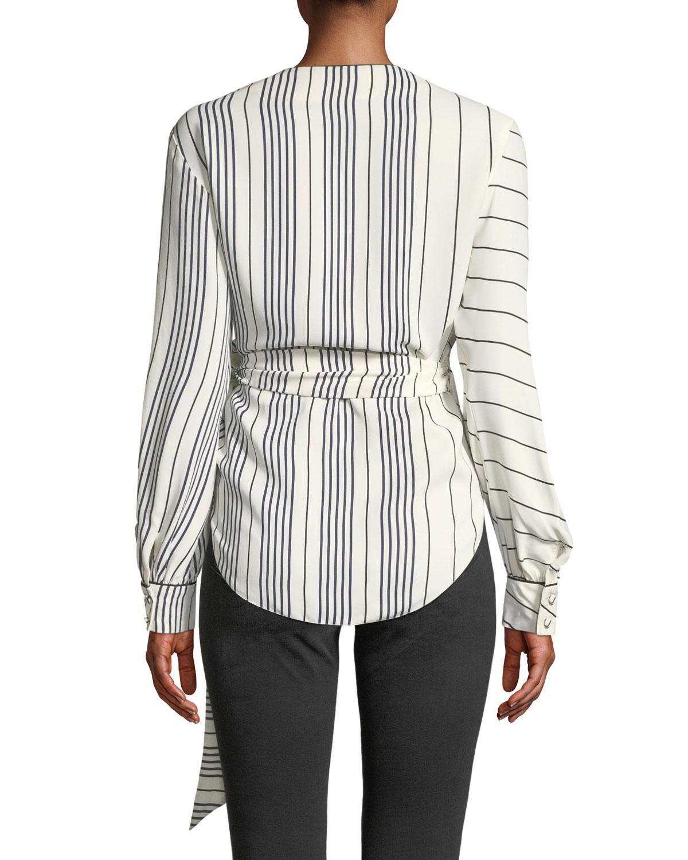 cd2e8caa Lyst - Jonathan Simkhai Multimedia Stripe Long-sleeve Wrap Top in White