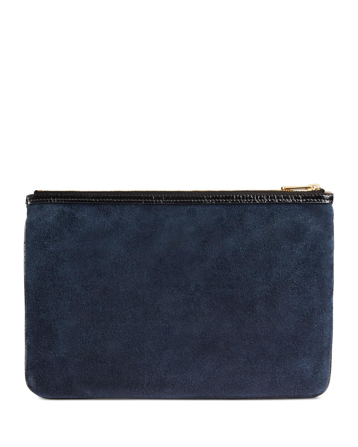 84604043794 Lyst - Gucci Ophidia Large Suede Clutch Bag in Black