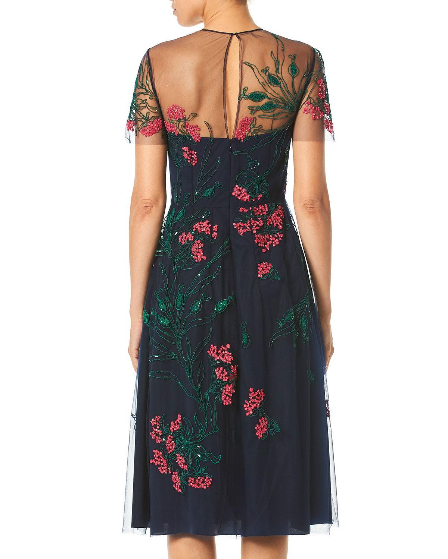fc012a7ffcb Lyst - Carolina Herrera Embroidered Knee-length Illusion Dress in Blue