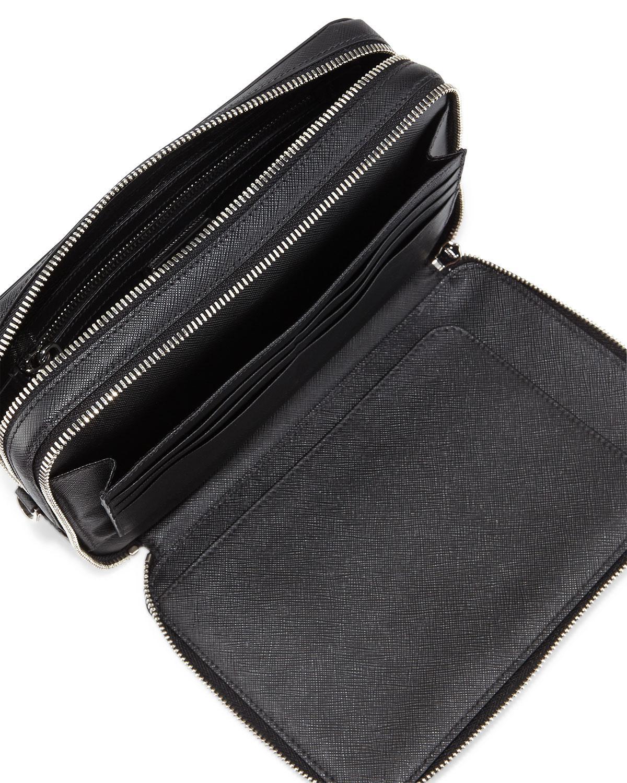 44f665ad640e Prada Saffiano Men's Clutch Bag in Black - Lyst
