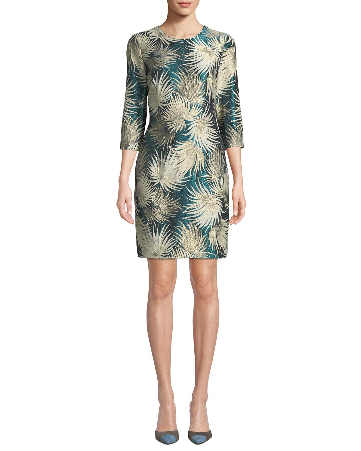 1d9cd0f81d0 Naeem Khan. Women s Blue 3 4-sleeve Metallic Palm Jacquard Cocktail Dress