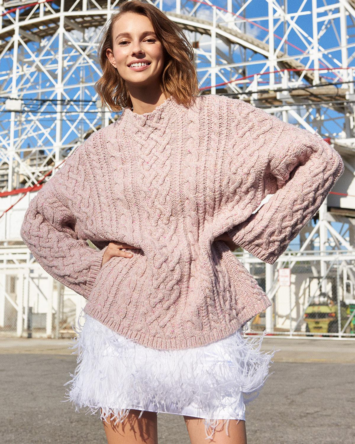 0ced856951ed Lyst - MILLY Oversized Fisherman Cable-knit Sweater in Pink