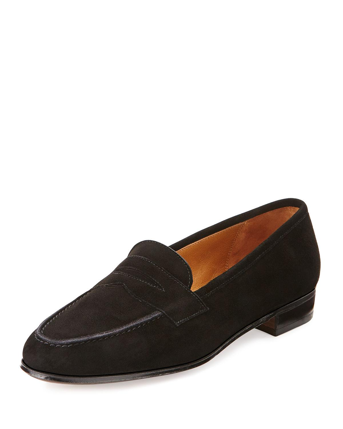 689be048cdf Lyst - Gravati Suede Penny Loafer in Black - Save 65%