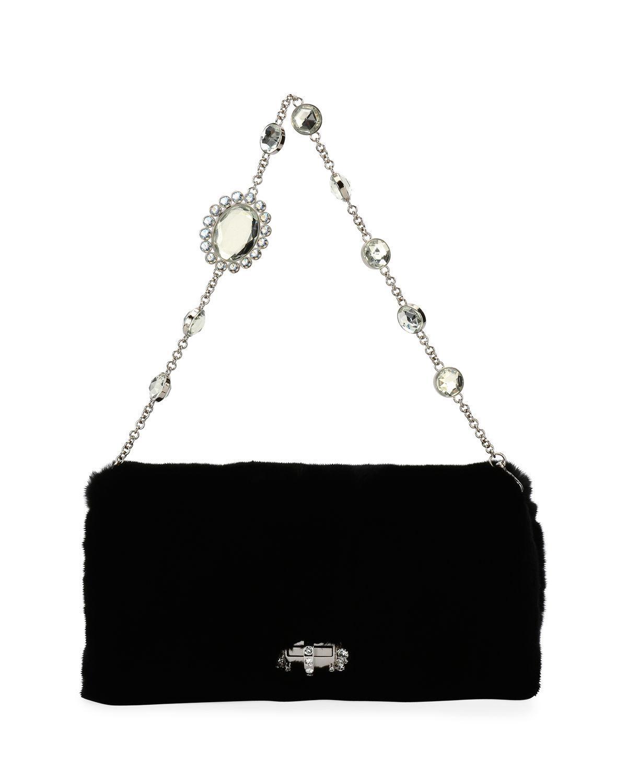 24850439adc Lyst - Miu Miu Jeweled Fur Chain Clutch Bag in Black