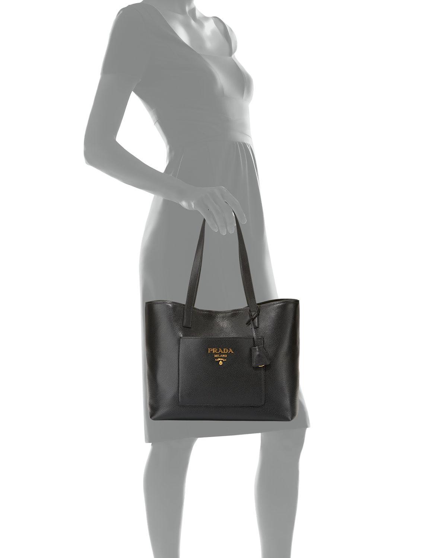6d1f01b1f288 Prada Large Daino Shopper Tote Bag in Black - Lyst