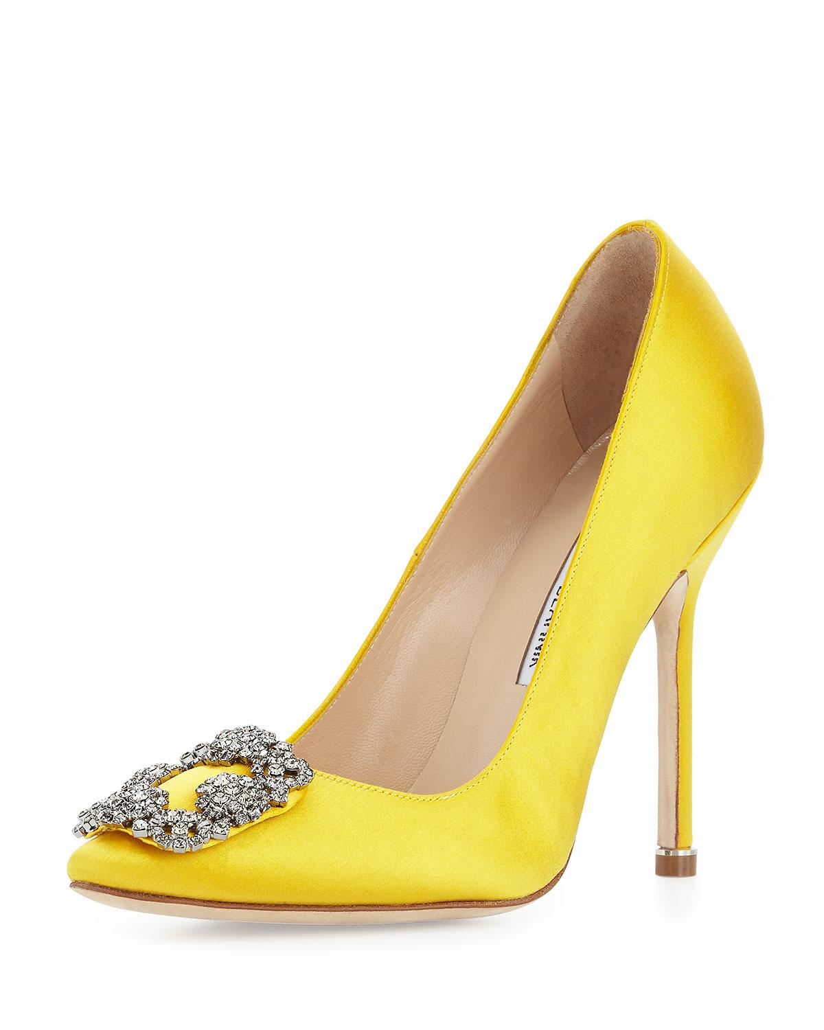 Lyst manolo blahnik hangisi satin crystal toe pump in yellow for Shoes by manolo blahnik