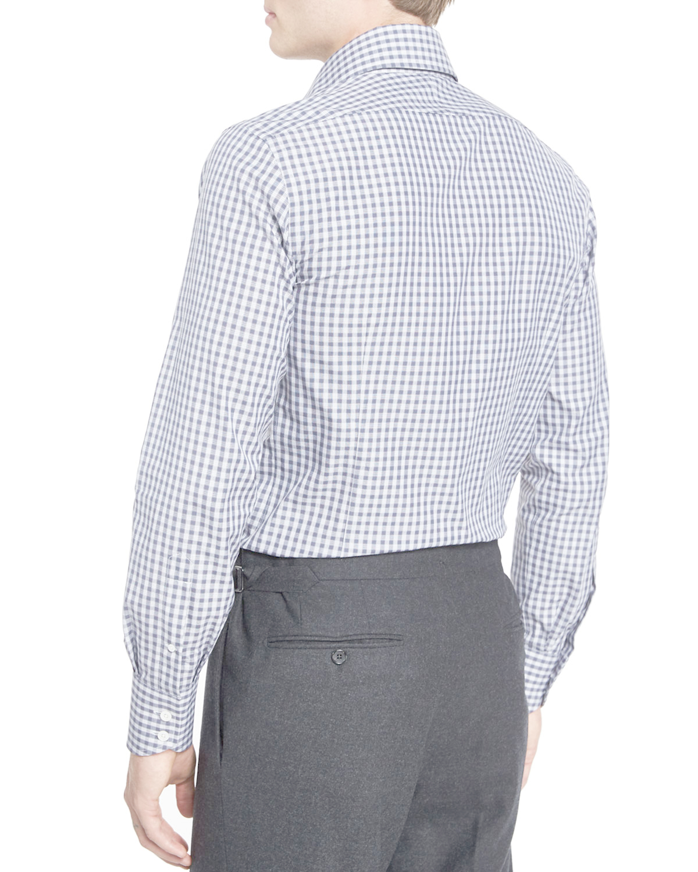 Tom ford geometrical gingham dress shirt in blue for men for Gingham dress shirt men