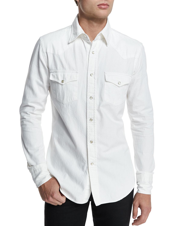Tom Ford Western Style Denim Shirt In White For Men Lyst