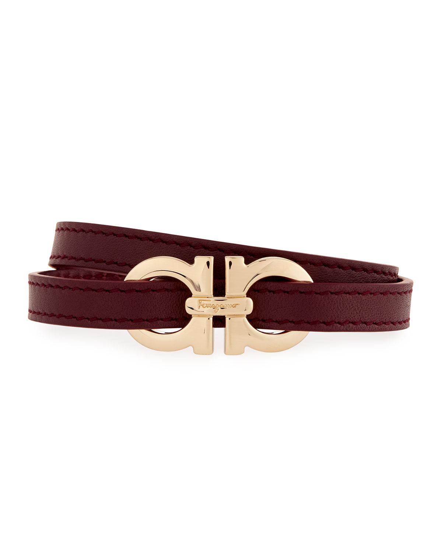 ferragamo gancini leather wrap belt in wine lyst