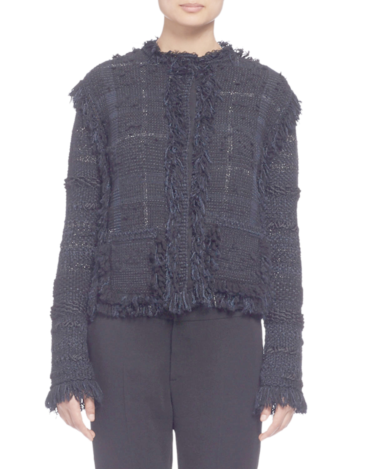 lanvin fringed plaid tweed jacket in black lyst. Black Bedroom Furniture Sets. Home Design Ideas