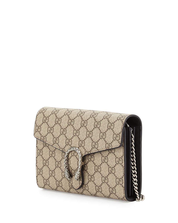 b9c62fda229 Gucci Dionysus Gg Supreme Wallet-on-a-chain - Lyst