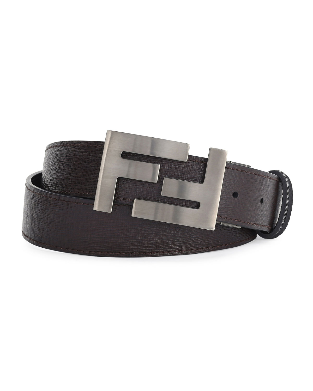 Fendi Double-f Buckle Textured Leather Belt in Black for ... Black 6f48ed82e0aa7