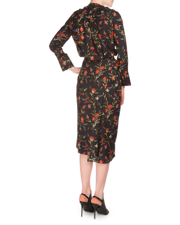 Balenciaga Long Sleeve Floral Print Wrap Dress Lyst