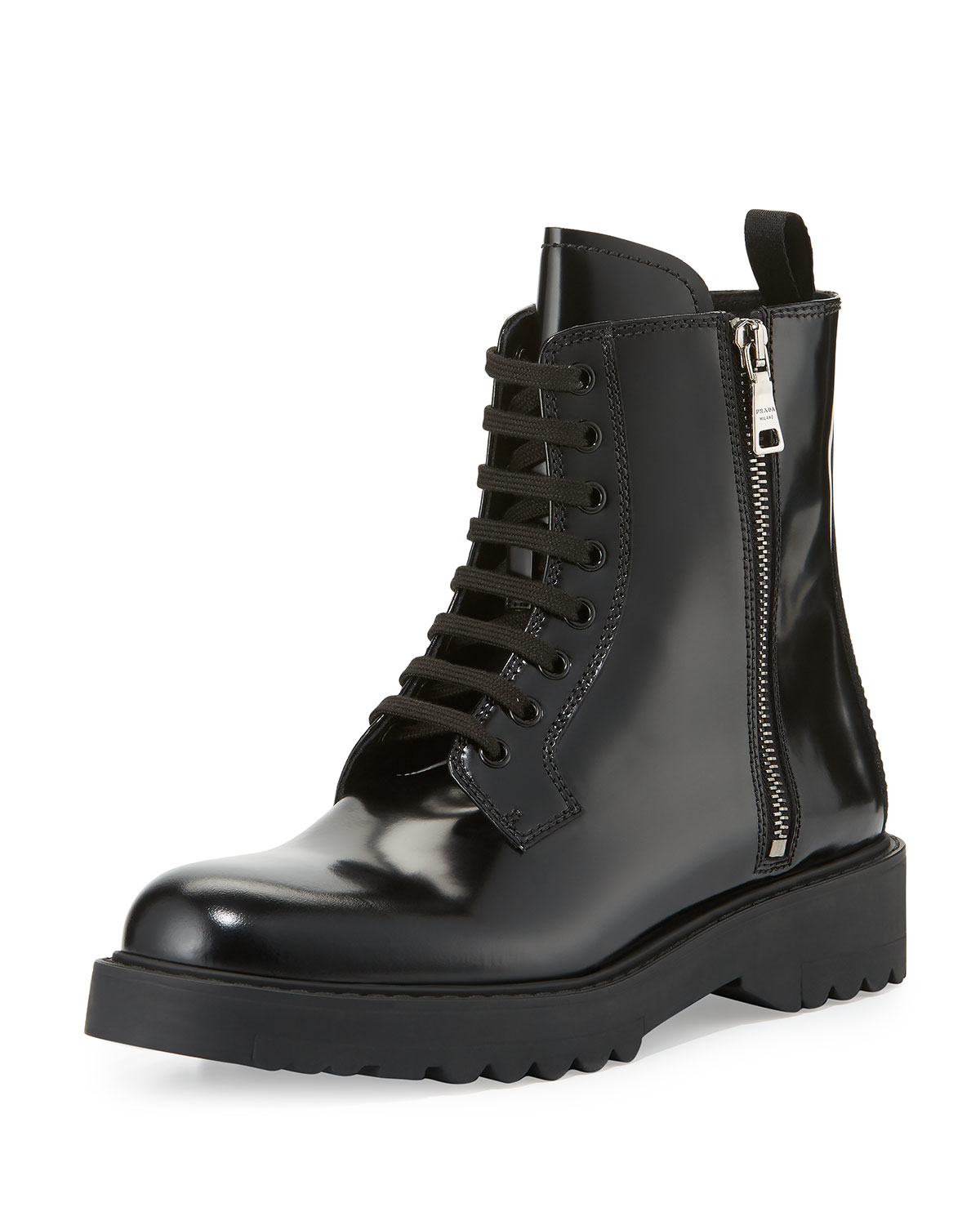Lyst Prada Polished Leather Combat Boot In Black
