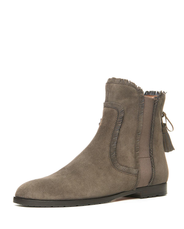 aquazzura fringe beatle suede flat boot in gray lyst