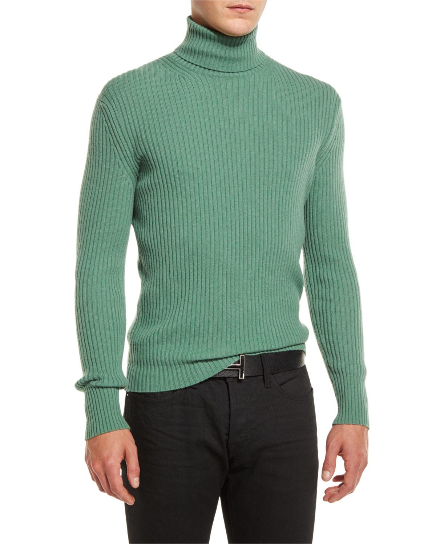 tom ford ribbed turtleneck sweater in green for men lyst. Black Bedroom Furniture Sets. Home Design Ideas