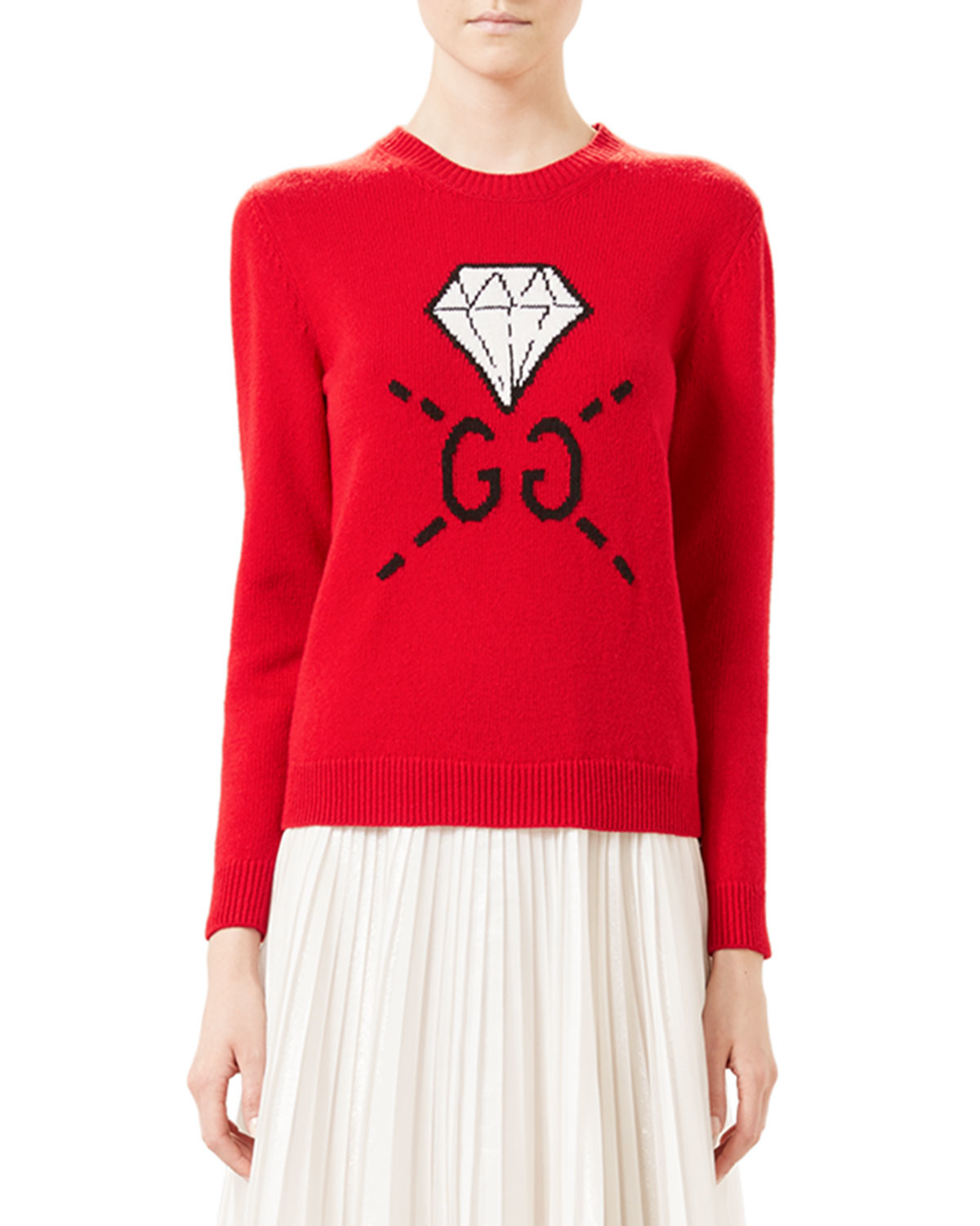 4ebe40dd21d Lyst - Gucci Ghost Gg Diamond Knit Top in Red