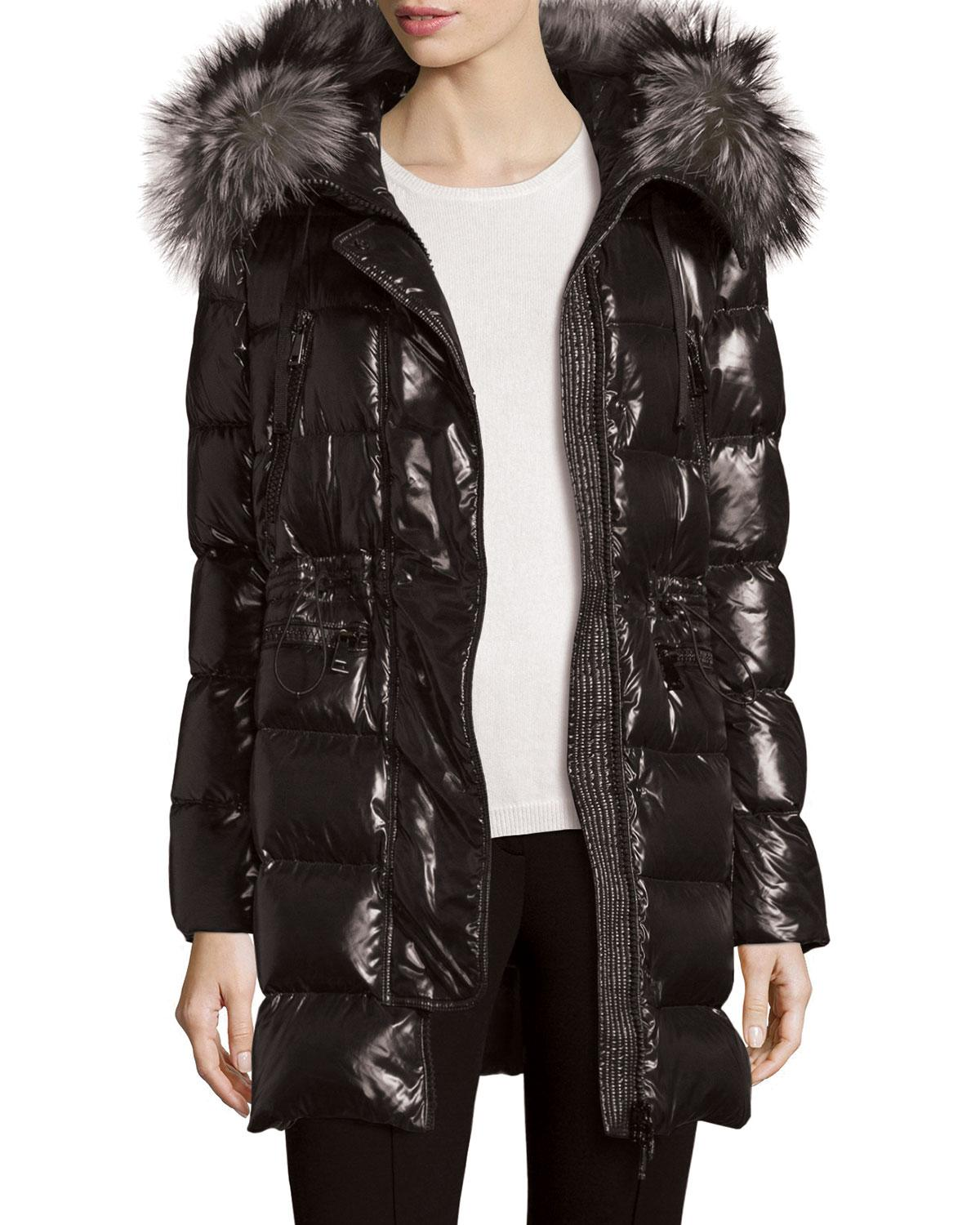 Moncler Shiny Quilted Down Coat W Fur Hood In Black Lyst