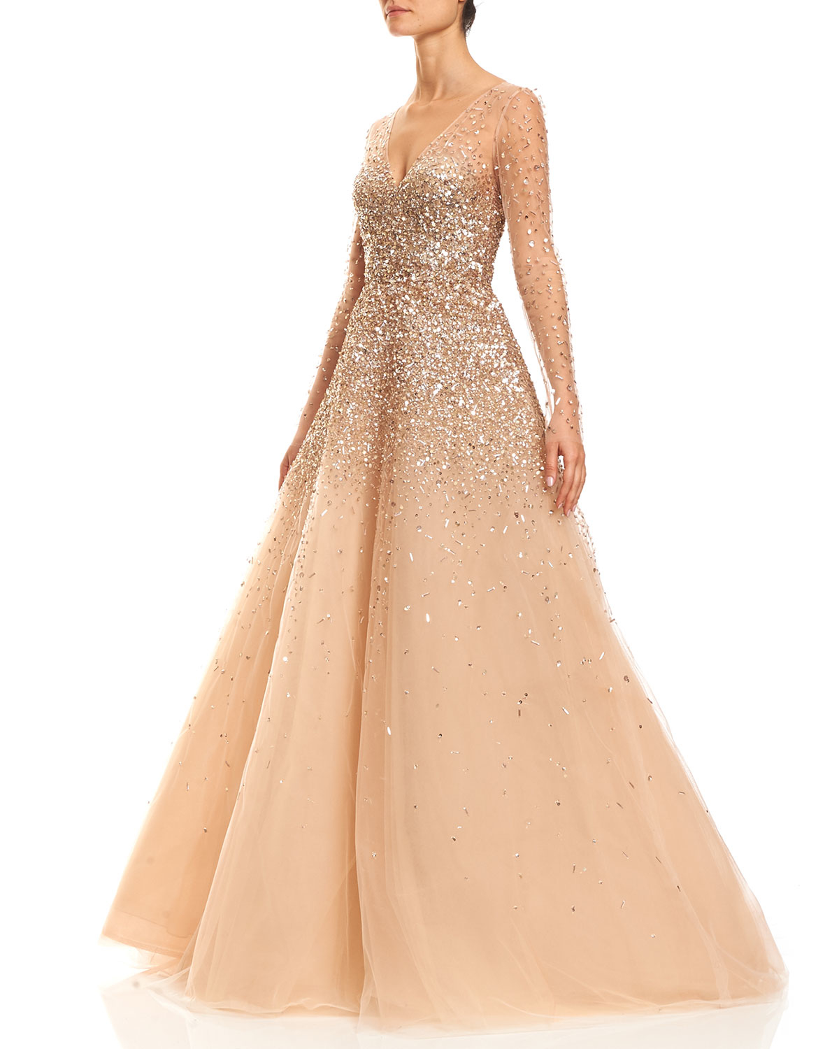 Lyst Carolina Herrera Sequined Illusion Tulle Ball Gown In Natural