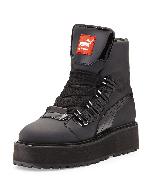 rubberized leather sneaker boot in black lyst