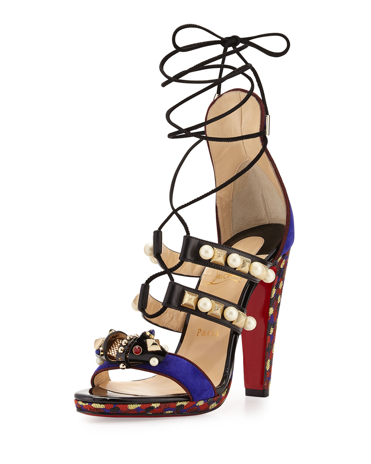 1a3a1be71b2 Christian Louboutin Tudor Lace-up Red Sole Sandal - Lyst