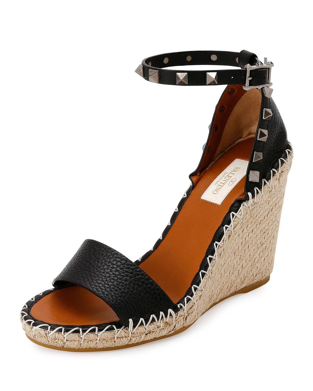 2fa6a391781 Lyst - Valentino Rockstud Double Espadrille Wedge Sandals