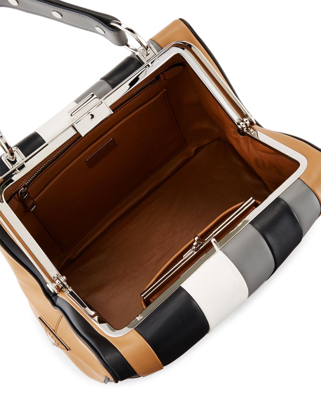 7003329db3 Lyst - Prada Baiadera Striped Leather Satchel Bag in Gray
