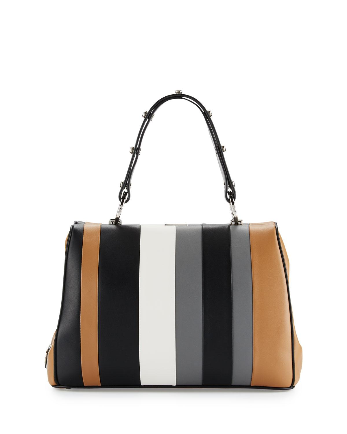 d6e729148469d4 Prada Baiadera Striped Leather Satchel Bag in Gray - Lyst