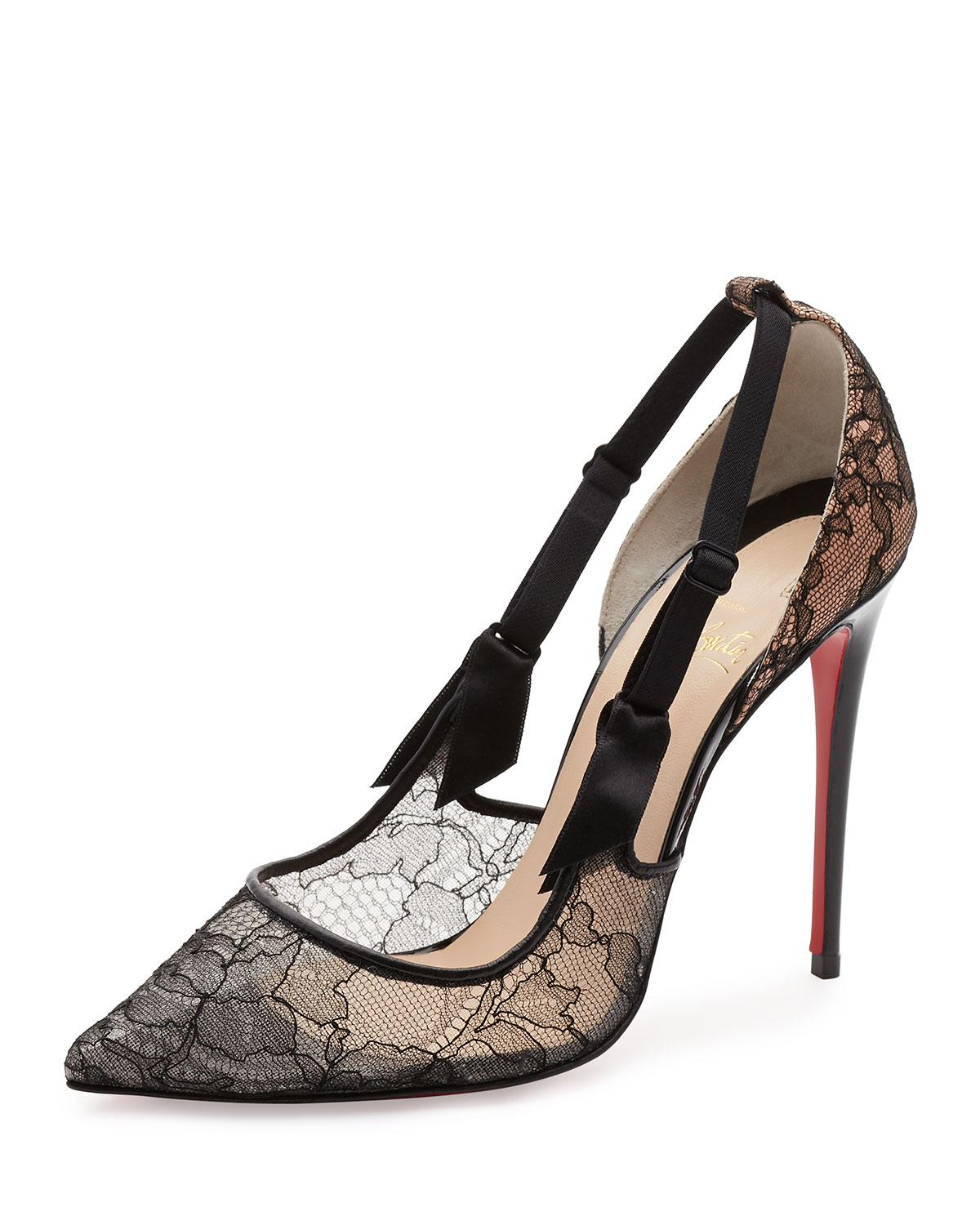 85325c3507f Lyst - Christian Louboutin Hot Jeanbi Lace 100mm Red Sole Pump in Black