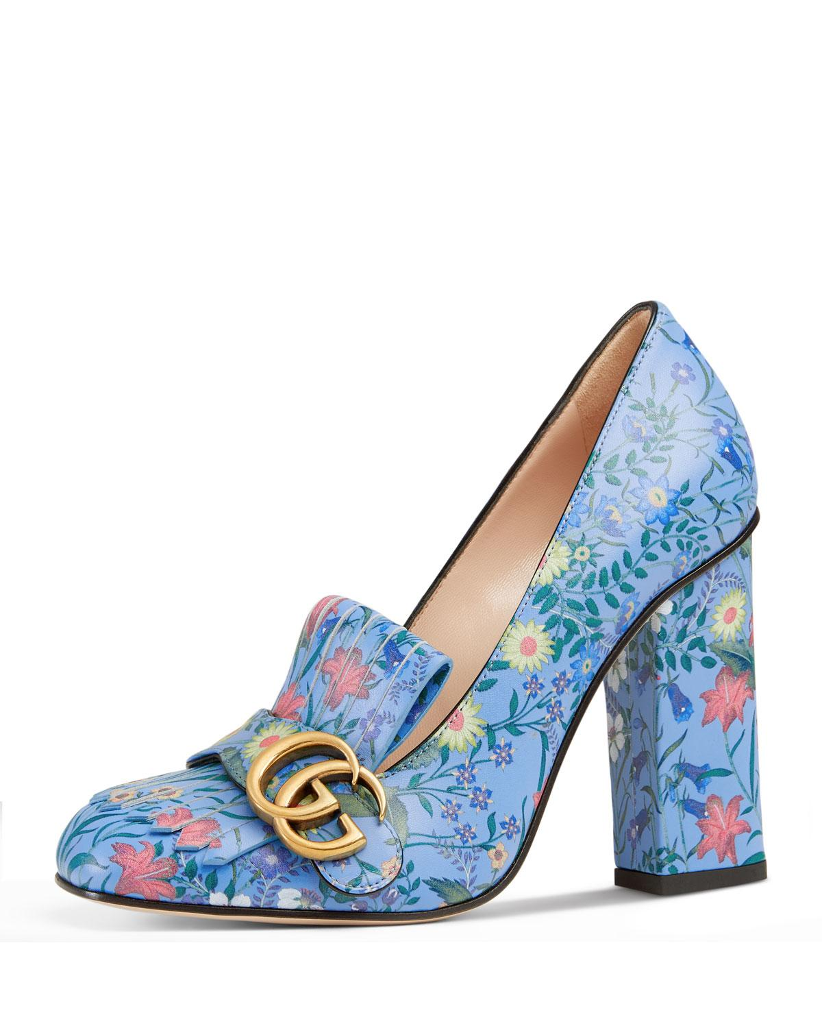 e7408f0bbae Lyst - Gucci Marmont New Floral Loafer Pump in Blue