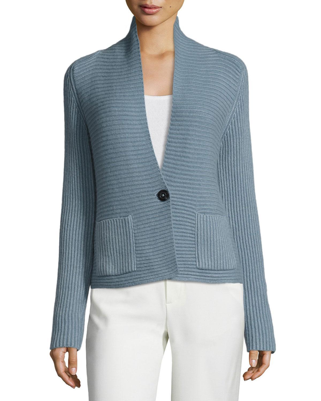 iris von arnim ribbed cashmere blazer cardigan in blue lyst. Black Bedroom Furniture Sets. Home Design Ideas