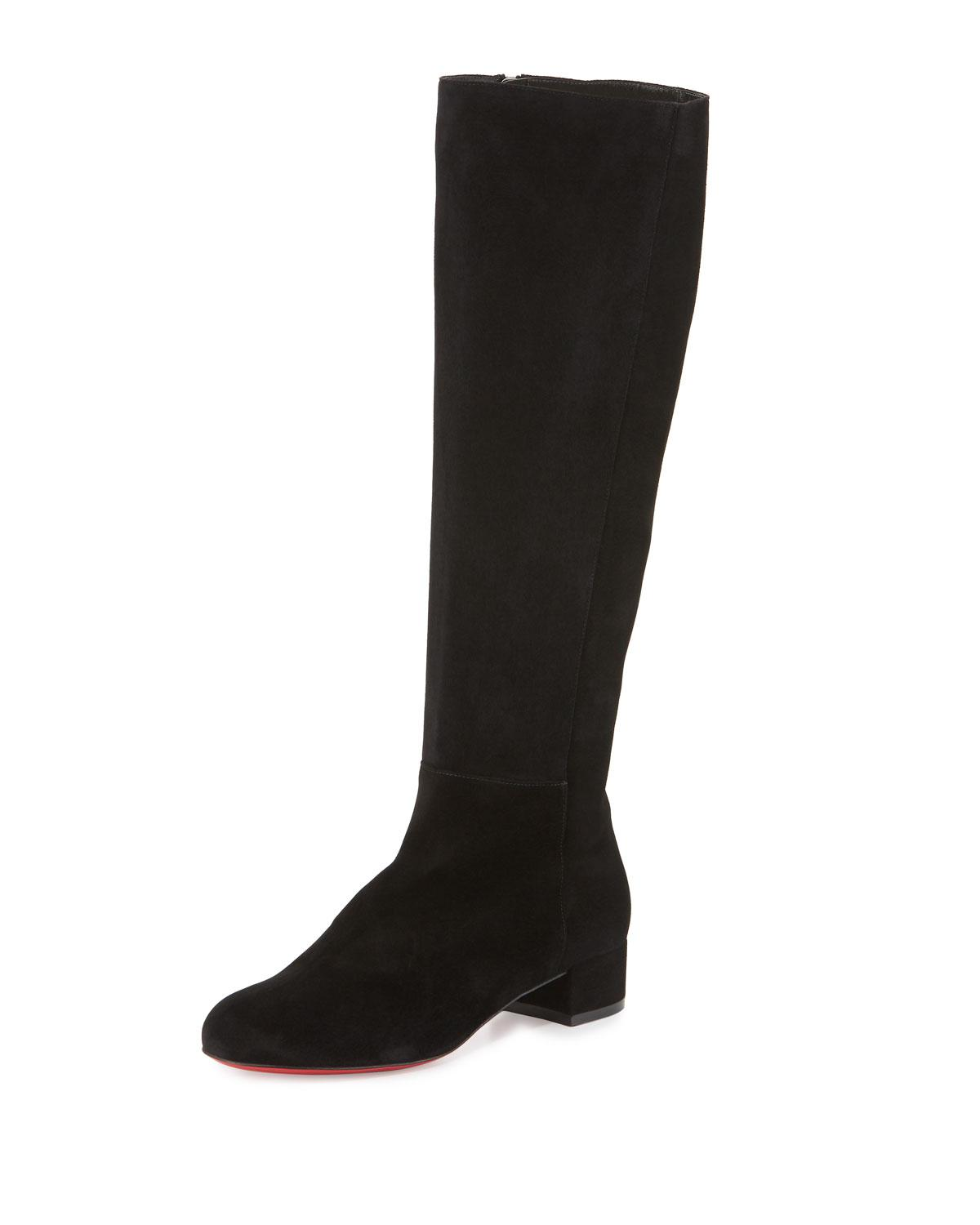 5fdf1512fa39 Christian Louboutin Lili Suede 30mm Red Sole Knee Boot in Black - Lyst