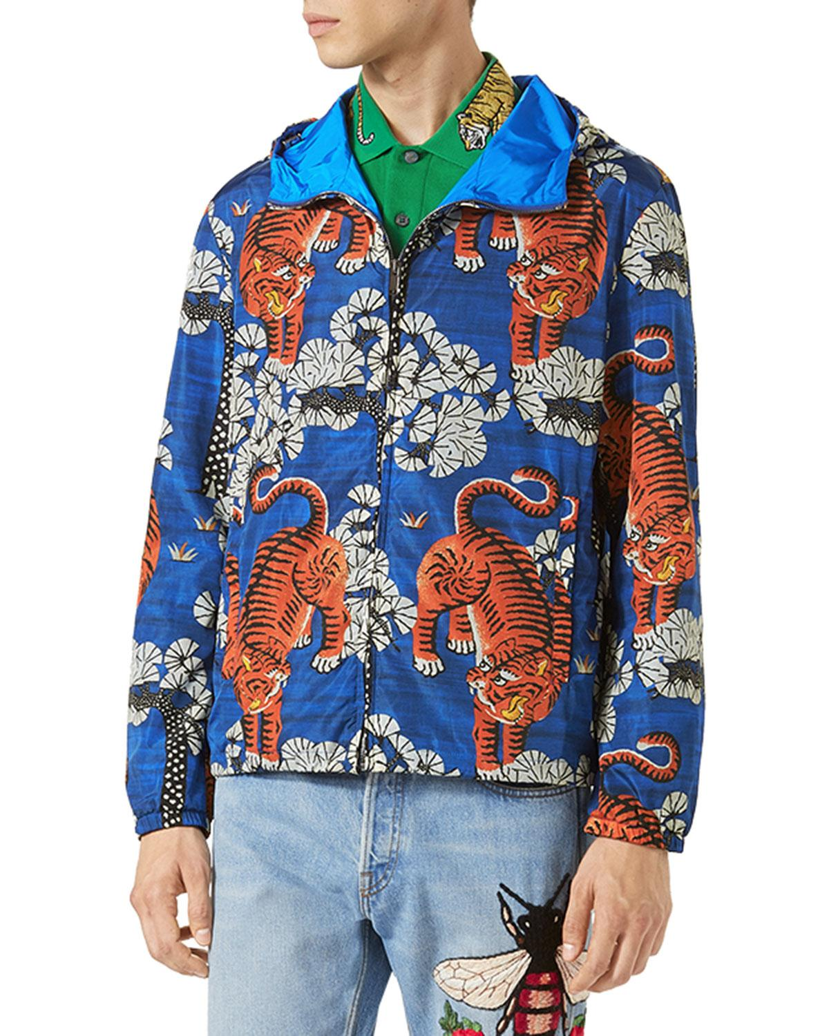 1174ca7a945 Lyst - Gucci Bengal Tiger-print Jacket in Blue for Men