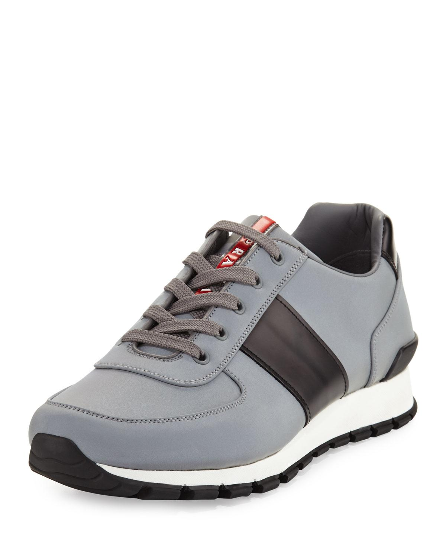 Prada linea rossa Reflective Textile & Leather Trainer Sneaker in Metallic for Men | Lyst