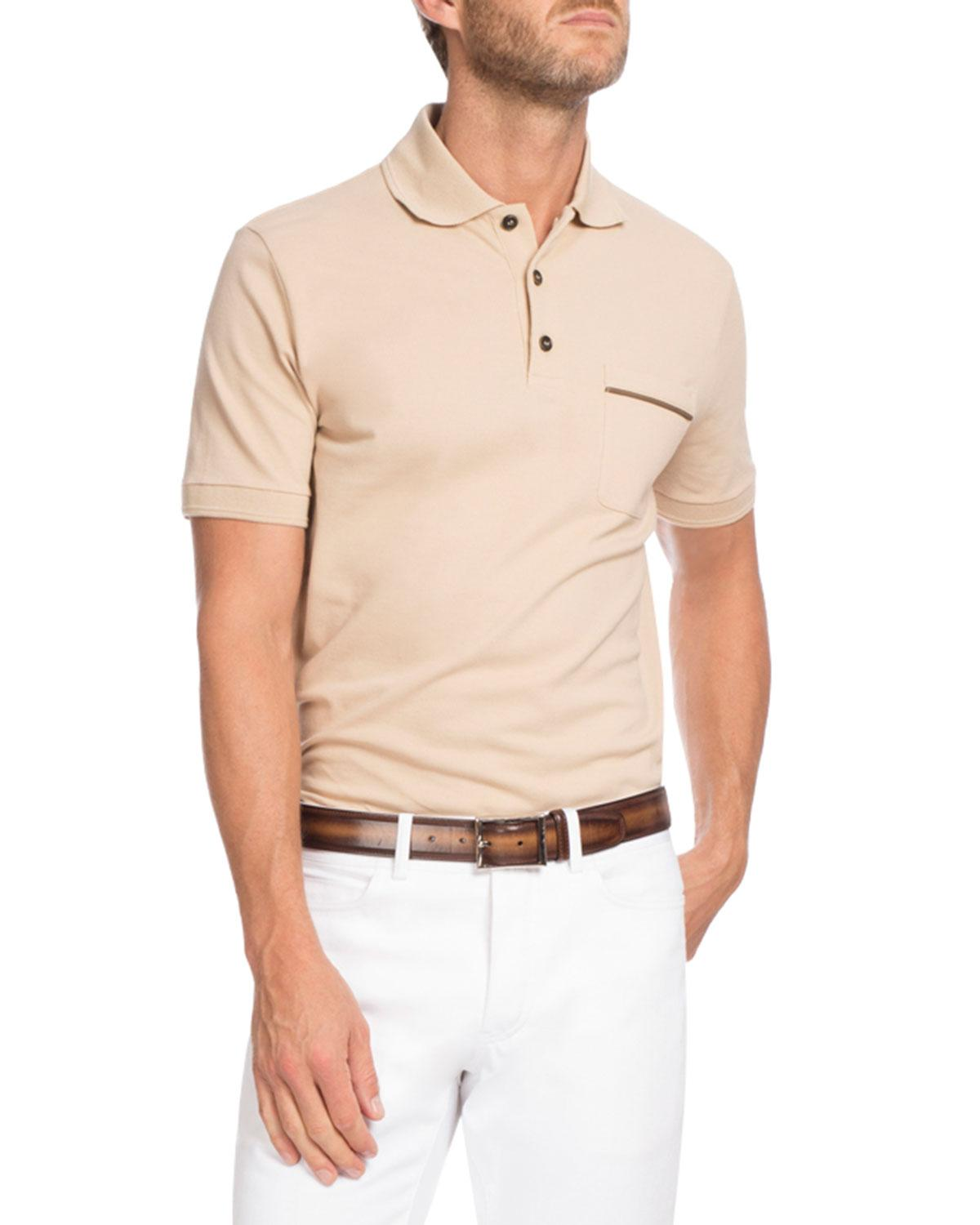 Berluti leather trim polo shirt in white for men lyst for Mens white leather shirt