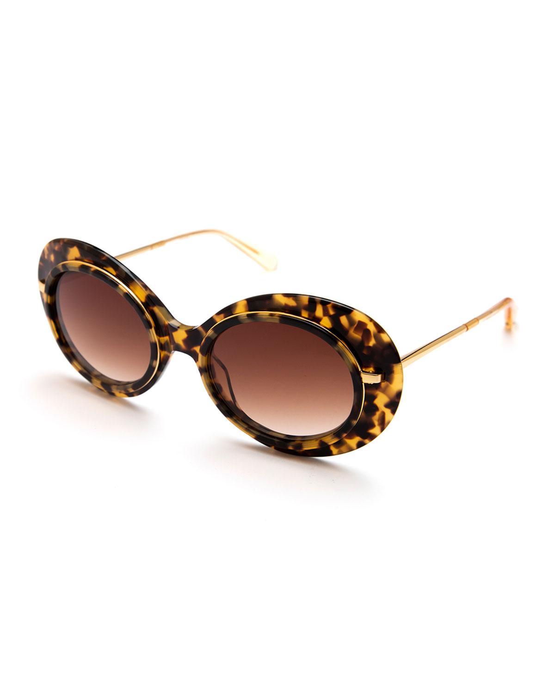 a315189d948 Lyst - Krewe Iris Gradient Oval Sunglasses in Brown