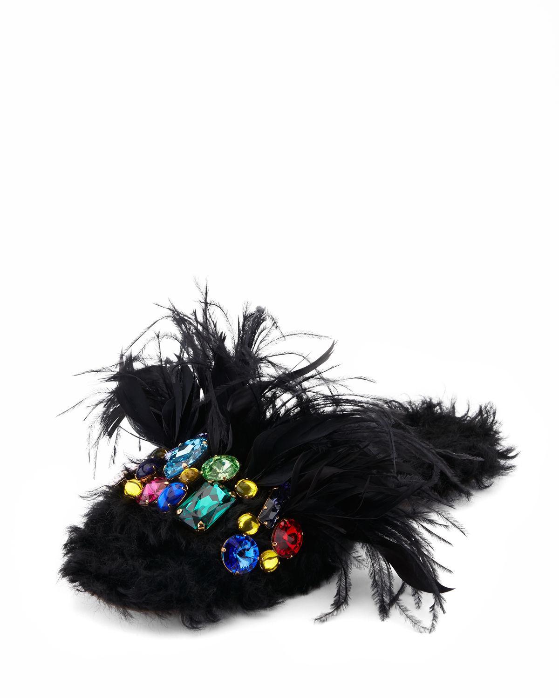 Lyst Miu Miu Jeweled Furry Flat Mule In Black
