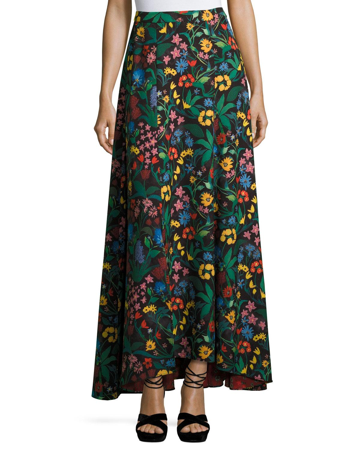 athena high low floral maxi skirt lyst