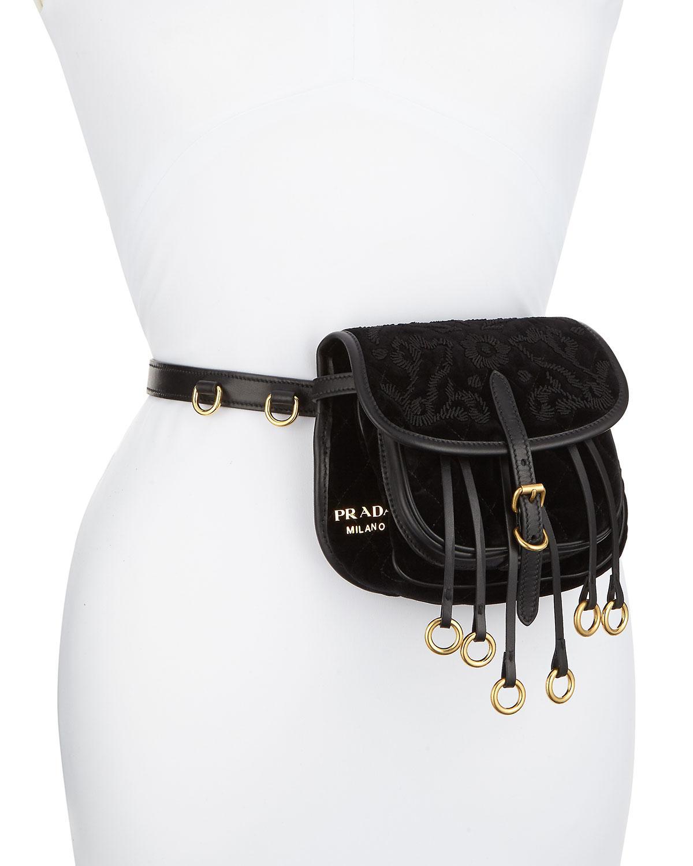 dc56c0591 Prada Cahier Small Velvet Belt Bag in Black - Lyst