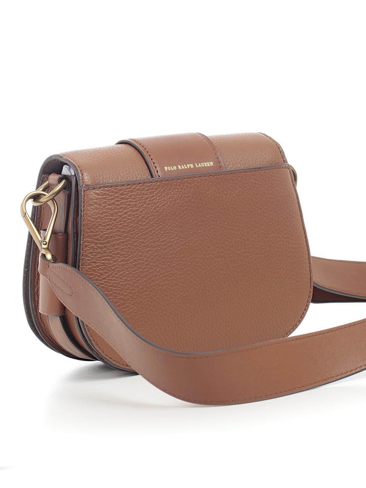 699f68767c ... best price polo ralph lauren borsa tracolla pelle fibbia tonda in brown  lyst 1809f 30adf