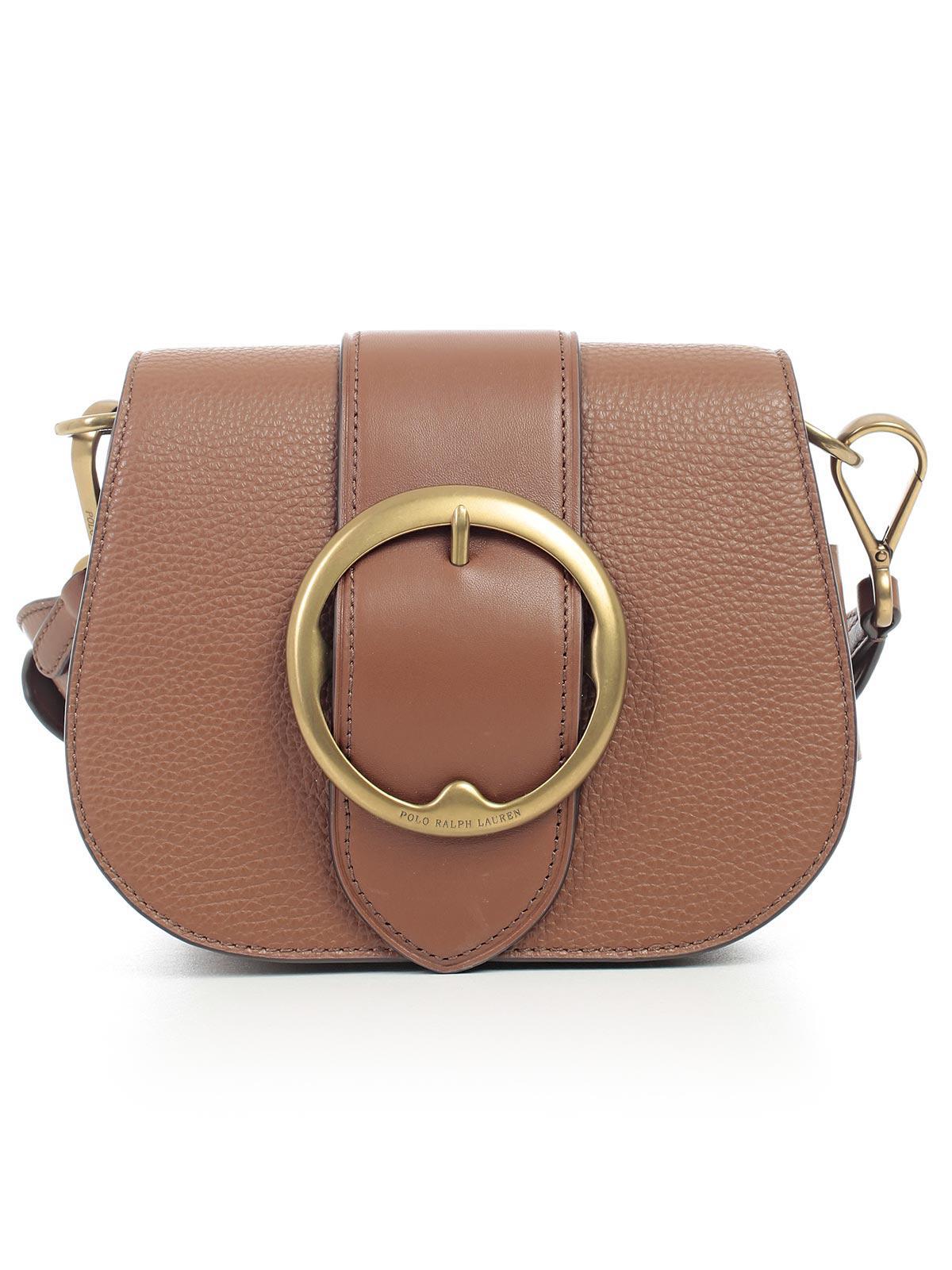 7d30b3748e ... best price polo ralph lauren borsa tracolla pelle fibbia tonda in brown  lyst 1809f 30adf