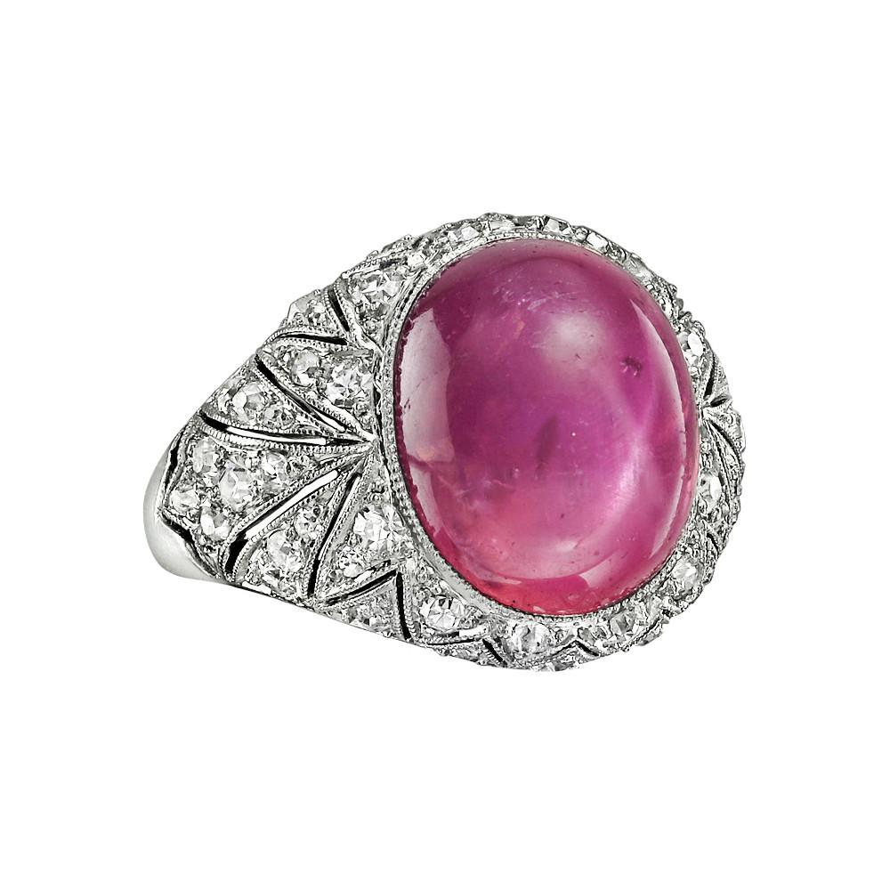 Lyst - Cartier Art Deco Star Pink Sapphire & Diamond Ring in Pink