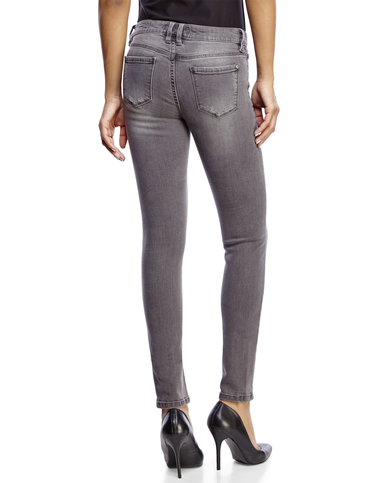 eunina grey mid rise skinny jeans in gray lyst. Black Bedroom Furniture Sets. Home Design Ideas