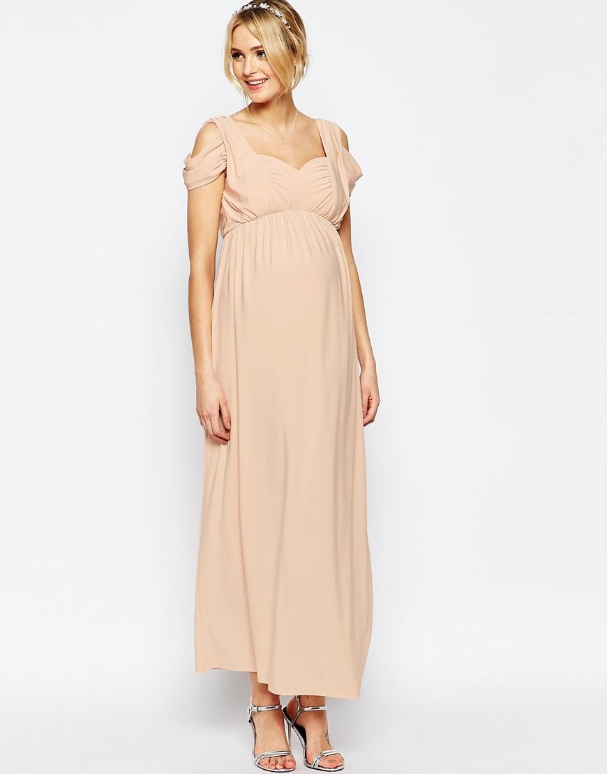 Lyst - Asos Wedding Drape Cold Shoulder Maxi Dress in Blue