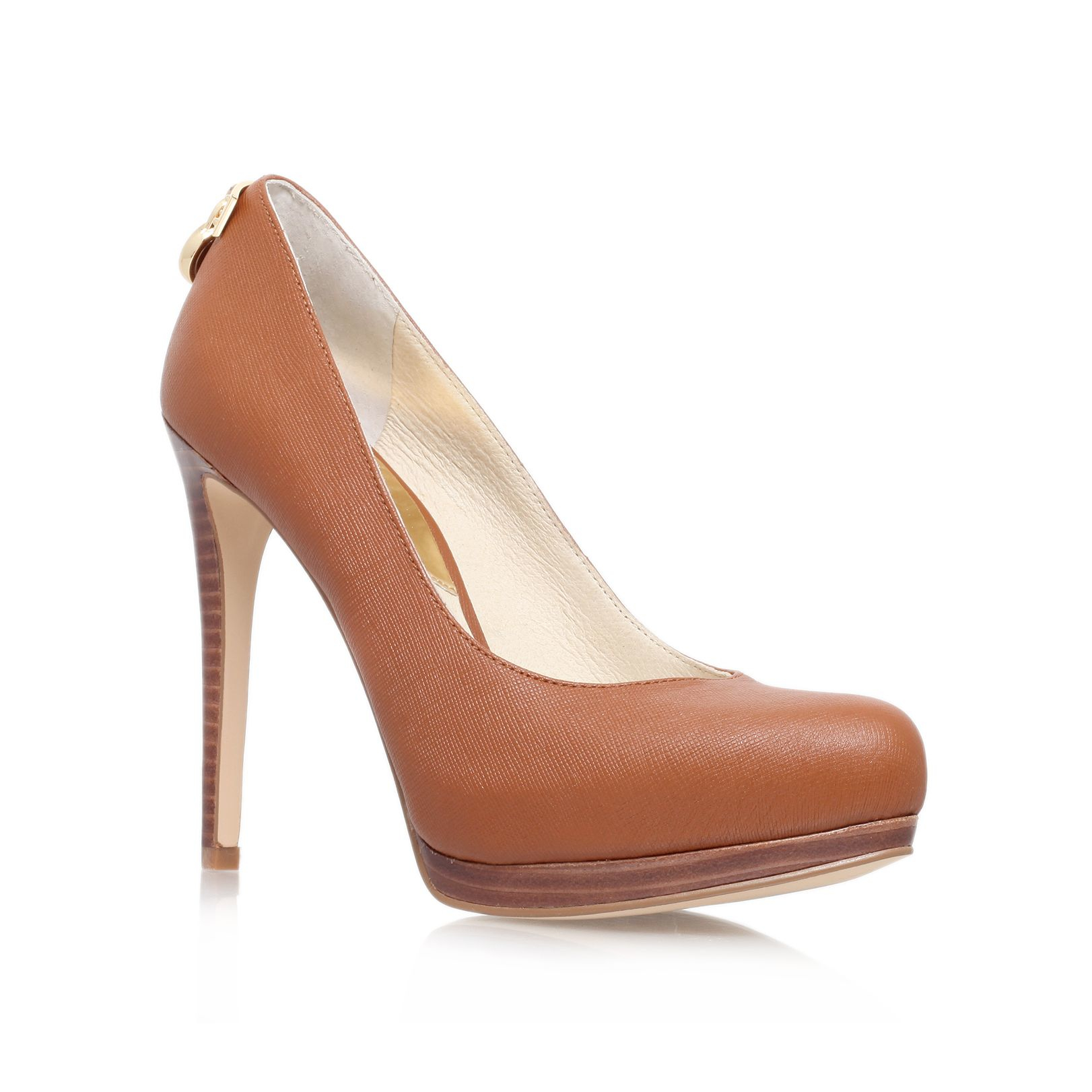 michael kors hamilton high heeled court shoes in brown lyst