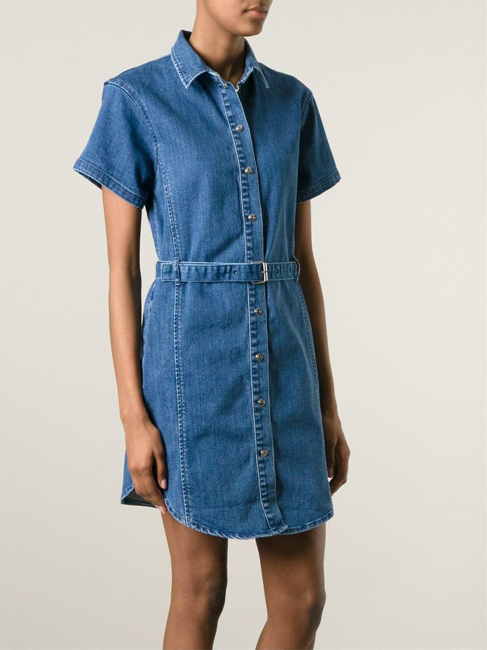 1e3f780a50 Lyst - Carven Denim Shirt Dress in Blue