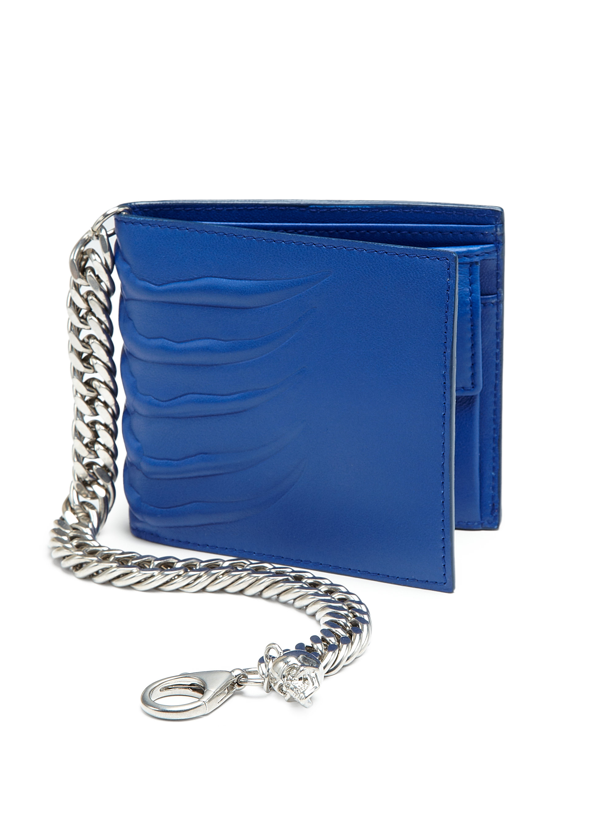 Alexander mcqueen embossed leather chain wallet in blue